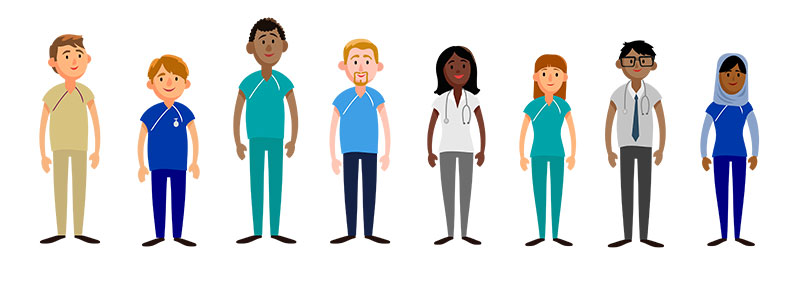 Character designs for NHS animation